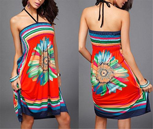 Robe t bohme Imprim Tenxin up Plage Vintage Sexy Soleil Cover 1 Robe B Femme Floral Vacances chemisier ample Bohmien FCwfq