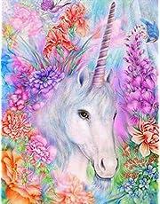 Kit per pittura con gli strass 5D ,Diamond painting kit completo, disegno di unicorno bianco - per ricamo su tela con strass - Punto croce diamond decorazione da parete 30 x 40 cm