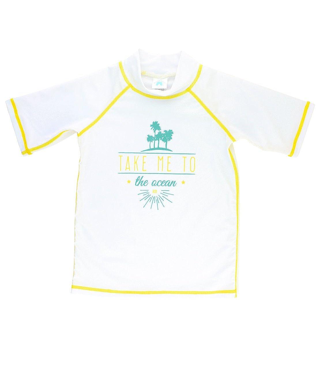 RuggedButts Little Boys UPF 50+ Sun Protection Rash Guard Swim Shirt RGSWHXX-BLYE-TDLR