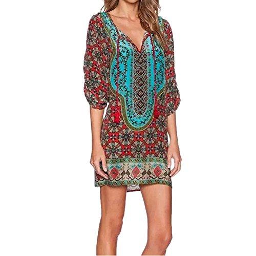 Rtro Cou Longue shirt Blouse Robe Mini Rouge T Cravate Bohme Femme Vintage Fleur Imprim Hauts LAEMILIA Chemise gCzZn6x