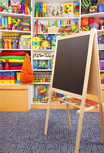(CSFOTO 5x7ft Background for School Desk Preschool Inside Photography Backdrop Children Game Room Playroom Baby Block Childish Colorful Toy Shelf Market Child Photo Studio Props Polyester)