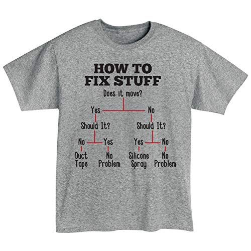 Unisex How to Fix Stuff Flow Chart T-Shirt - Funny Duct Tape Tee - Medium -