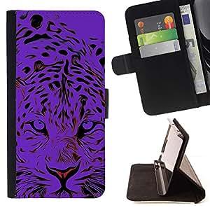 For Sony Xperia Style T3 Case , Tigre Negro Animal Elegante- la tarjeta de Crédito Slots PU Funda de cuero Monedero caso cubierta de piel