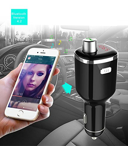 High Performance Digital Bluetooth V 4.2 FM Transmitter, in-car LED Display Bluetooth Receiver Wireless Car Kit Adapter, Dual USB Car Charger with Handsfree Calling, 2.4 A Output, Read U Disk