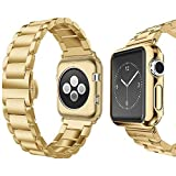 Compatible for Apple Watch Band 42mm 44mm, UMTELE Super Slim Stainless Steel Band Metal Strap with Butterfly Clasp Replacement for Apple Watch Series 1/2/3/4 44mm,Gold