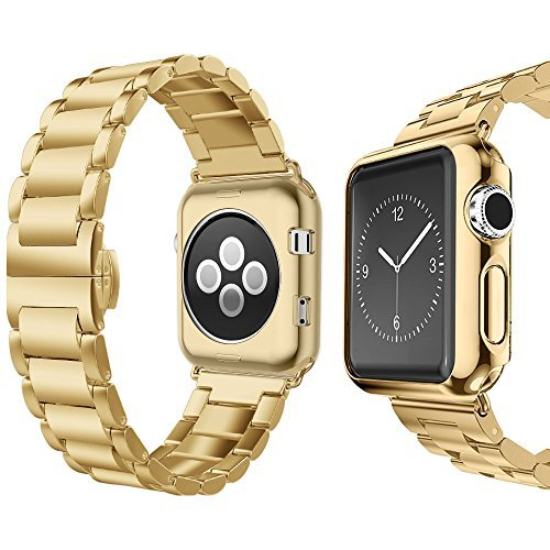 Compatible for Apple Watch Band 42mm 44mm, UMTELE Super Slim Stainless Steel Band Metal Strap with Butterfly Clasp Replacement for Apple Watch Series 1/2/3/4 44mm 42mm 40mm - Gold Men Band Watch