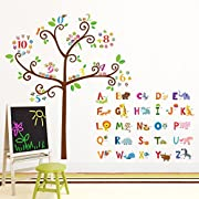 Decowall DA-1503 Animal Alphabet ABC and Owl Numbers Tree Kids Wall Decals Wall Stickers Peel and Stick Removable Wall Stickers for Kids Nursery Bedroom Living Room (DA-1503)