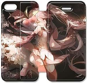 Hermosa Miku Vocaloid Miku Sakura Q4P44H7 iPhone 4 4S Funda de cuero del caso del tirón del cuero del teléfono F1C56Q7 Genérico caso funda para los muchachos