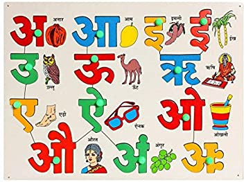 Hindi Vowel Tray with Picture & Knobs (Color & Picture May Vary from illustrations)