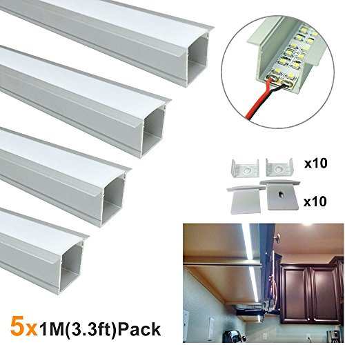 LightingWill Spot Free U Shape LED Aluminum Channel 5-Pack 3.3ft/1M 36x24mm Anodized Silver Track Internal Width 20mm with Cover End Caps Mounting Clips for Cabinet Kitchen LED Strip Lighting-U05S5