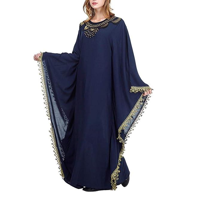 zhbotaolang Mujer Vestidos Arabe de Kaftan - Ropa Musulmana Abrigo Maxi Largo Islamica Abaya Algodon Bordado