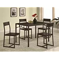 5pc Metal Dining Table and Chairs Set in Deep Cappuccino Finish