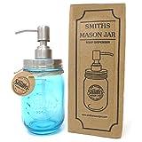 Smith's Mason Jar Soap Dispenser (Rust Free - Cobalt Blue)