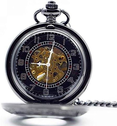 YXZQ懐中時計、男性用スチームパンクアンティークブラックハンド風機械式男性ネックレスフォブ