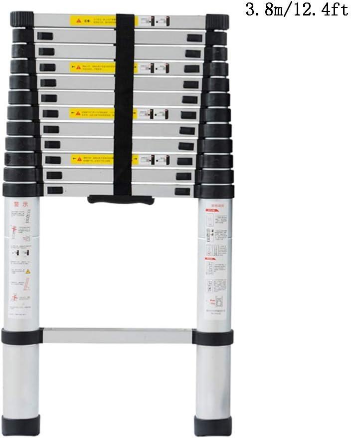 ZHIRONG 3.8M/12.4FT Escalera Telescópica, Aluminio Telescópico Extensión Alta Multipropósito Desván Escalera Plegable, 330 Libras/150Kg: Amazon.es: Bricolaje y herramientas