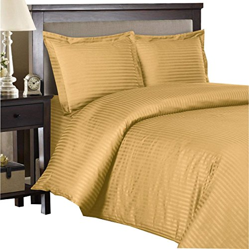 Royal Bedding Striped Bronze 300-Thread-Count 3pc California-King Duvet-Cover 100-Percent Cotton, Sateen Striped, Comforter Cover with Corner Ties
