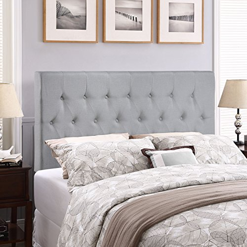 (Modway Clique Tufted Button Diamond Pattern Linen Fabric Upholstered Queen Headboard in Gray)