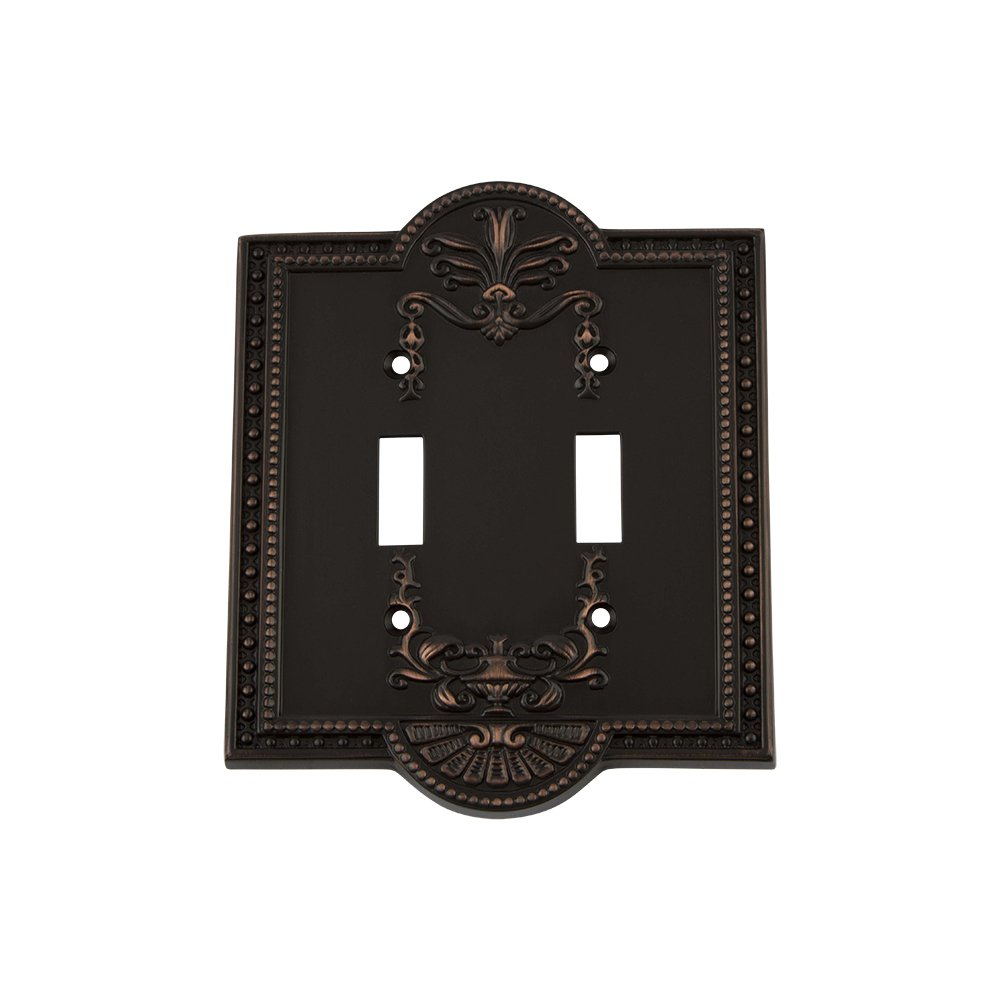 Nostalgic Warehouse 719639 Meadows Switch Plate with Double Toggle, Timeless Bronze