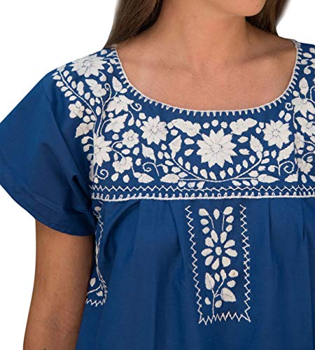 Liliana Cruz Embroidered Mexican Peasant Mini Dress (Blue with White Size Medium) by Liliana Cruz (Image #1)