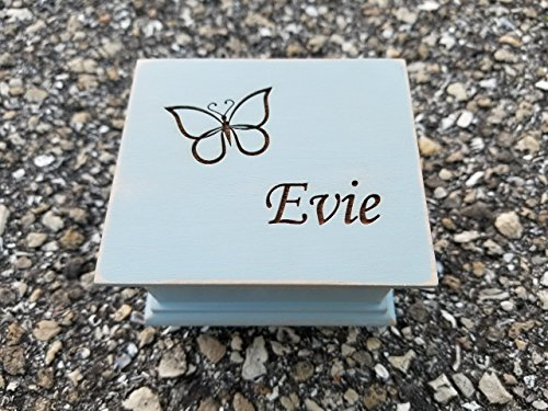 Custom made music box with butterfly and your choice of name on the top, personalizing option to the bottom side, with your choice of color and song, You are my sunshine music box, Fur Elise music box