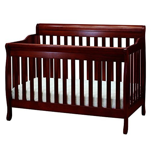 Athena Alice 4 in 1 Crib with Toddler Rail, Cherry Red Convertible Crib
