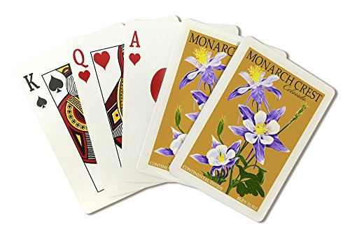 Colorado Columbines Design - Monarch Crest, Colorado - Columbine - Letterpress (Playing Card Deck - 52 Card Poker Size with Jokers)