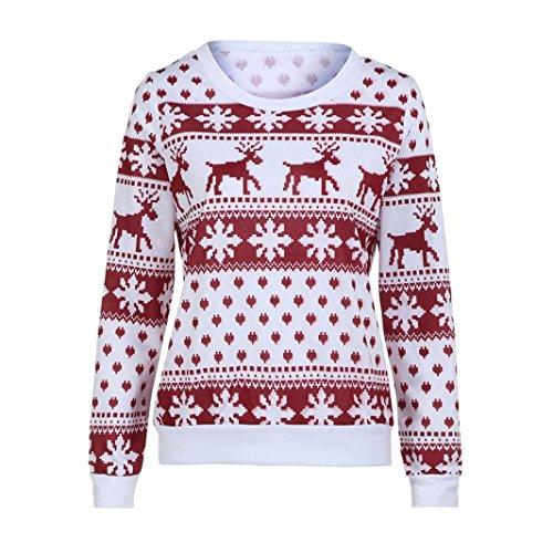 Natale Collo Lunghe Camicette Stampa Elegante Maniche Shirt Autunno Pullover Tops Felpa Camicie Donna Floreale T Natale O Casual ABCone Rosso wqIZX70