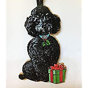 Black Poodle Ornament Handcrafted Wood Christmas Decoration, Dog Lover's Gift, 1950s Cards Jeweled Dog Collar Toy Standard Veterinarian Gift 3