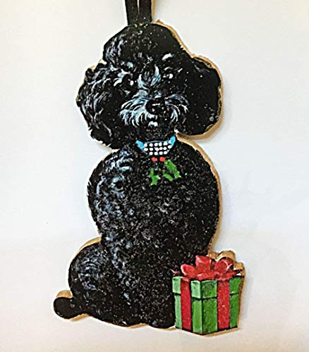 Black Poodle Ornament Handcrafted Wood Christmas Decoration, Dog Lover's Gift, 1950s Cards Jeweled Dog Collar Toy Standard Veterinarian Gift -