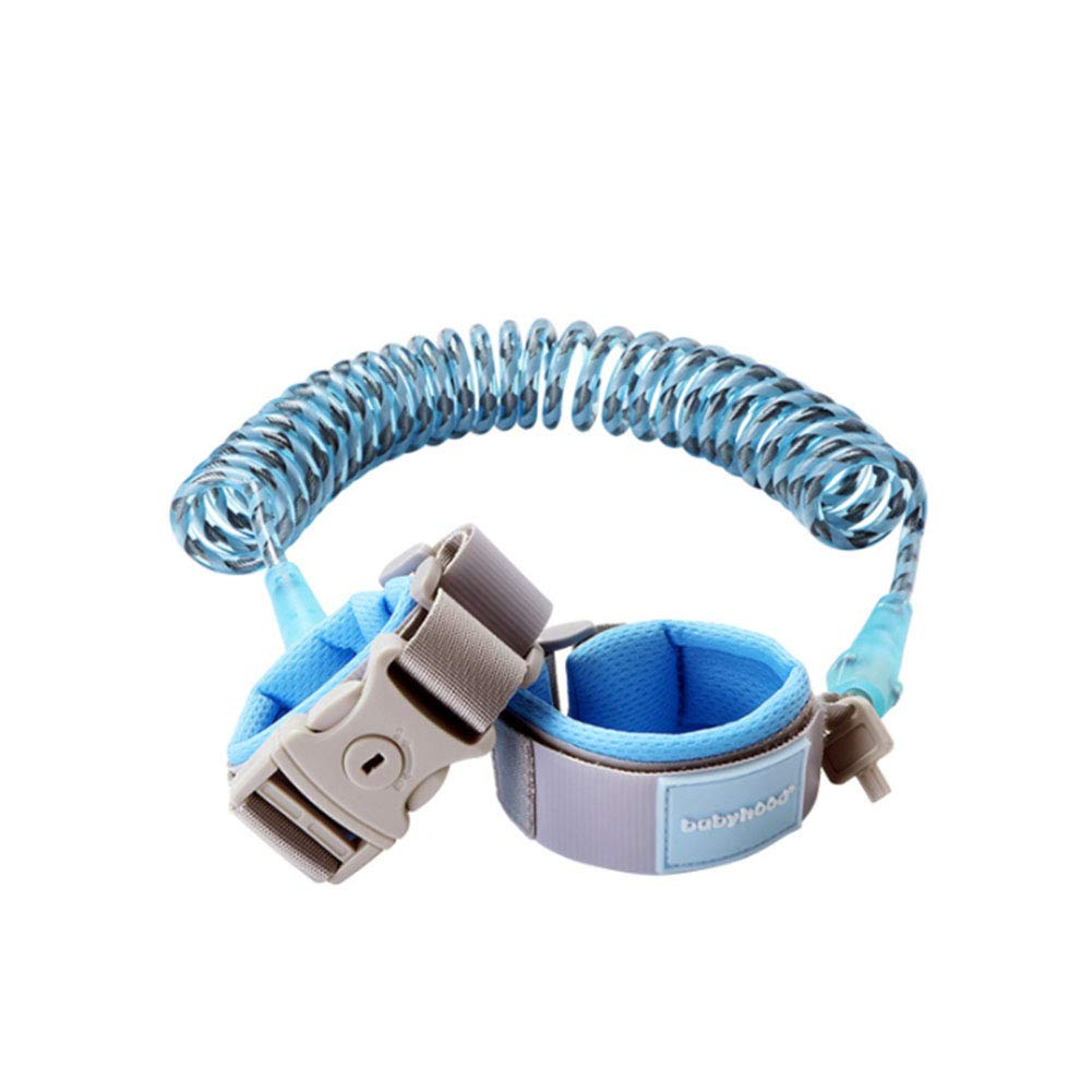 Anti Lost Wrist Link, Toddles Safety Wrist Leash, 8Ft with Key Lock, Suitable for Children, Babies (Blue)