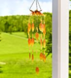 Plow & Hearth 55102-AMB Outdoor Colorful Glass Flower Petals Hanging Mobile Wind Chimes, Amber For Sale