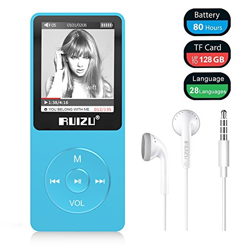 [Upgraded Version] Mp3 Player, RUIZU X02 Ultra Slim Music Player with FM Radio, Voice Recorder, Video Play, Text Reading, 80 Hours Playback and Expandable Up to 128 GB (Blue)