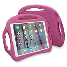 JUN-Q® iPad Air Case,Soft Silicone Portable Child-safe Kids Proof Shockproof Kickstand Protective Case Cover with Three Handles for Apple iPad 5/Air (Rose)