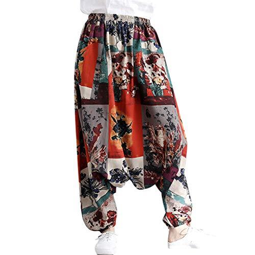 Harem Pants - Free Size - Womens Plus Hippie Bohemian Yoga Print Pants Fashion Cotton Linen Yoga Pants (One Size, D)