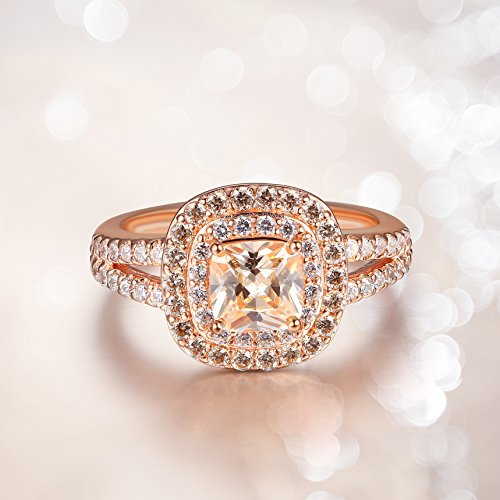 14k Rose Gold Plated Sterling Silver Champagne Cubic Zirconia Cushion Cut 6mm Double Halo Ring