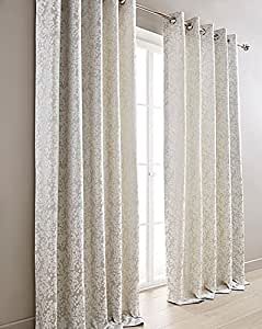 """WOVEN FLORAL SILVER GREY WHITE 45"""" X 72"""" - 114CM X 183CM FULLY LINED RING TOP CURTAINS DRAPES"""
