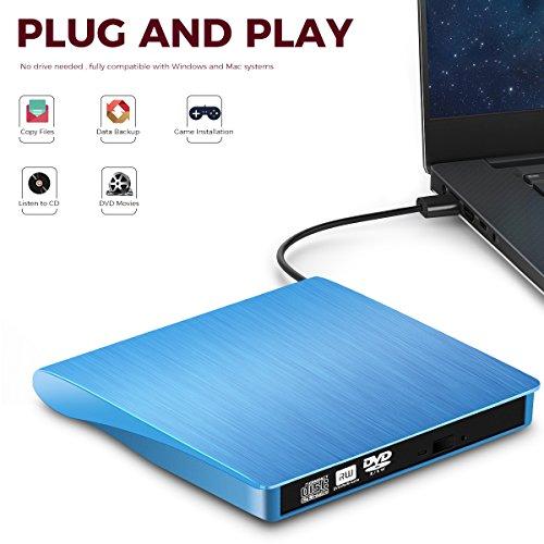 TOPCHU External CD Drive Ultra Slim USB 2.0 CD DVD-RW DVD ROM Drive DVD Burner Reader Recorder Writer Rewriter for Win10,Laptop, Apple MacBook Pro Air iMac, PC, Desktop, Notebook(with Storage case) by TOPCHU (Image #1)