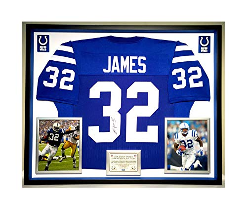 Premium Framed Edgerrin James Autographed/Signed Indianapolis Colts Jersey - JSA - Framed Edgerrin James