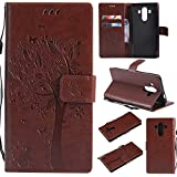 Huawei Mate 10 Pro Wallet Case, UNEXTATI Leather Flip Cover Case with Kickstand Feature for Huawei Mate 10 Pro (Brown #10)