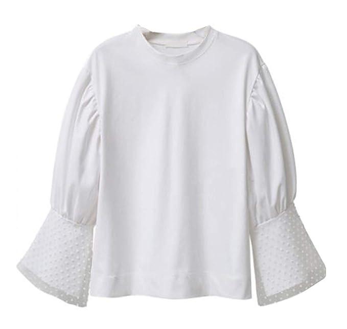 Primavera y Otoño Mujeres Talla Grande Tops Moda Cuello Redondo Cuerno Manga Camisetas Blouses Jumpers Casual