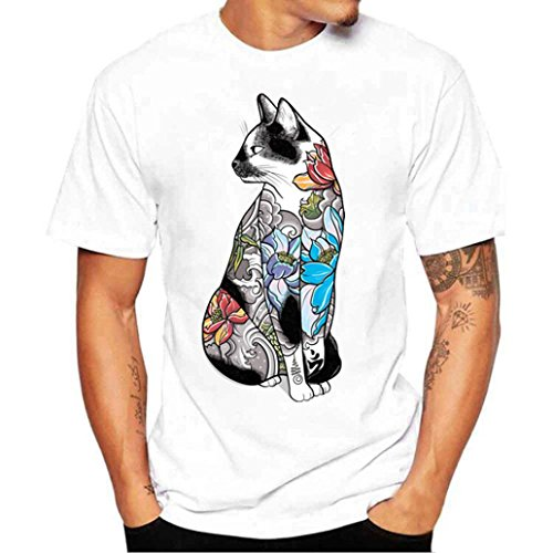 Bluestercool Hommes Fashion Manches Courtes Col Rond T-Shirt Casual Impression Top Blanc