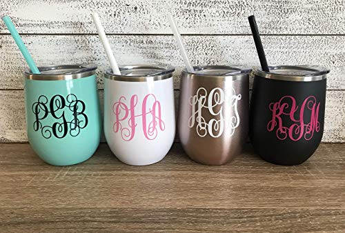 Personalized 12 oz Stainless Steel Wine Tumbler with Custom Monogram Vinyl Decal by Avito - Includes Straw and Lid - Bridesmaid, Bachelorette, Bridal Party Gifts -