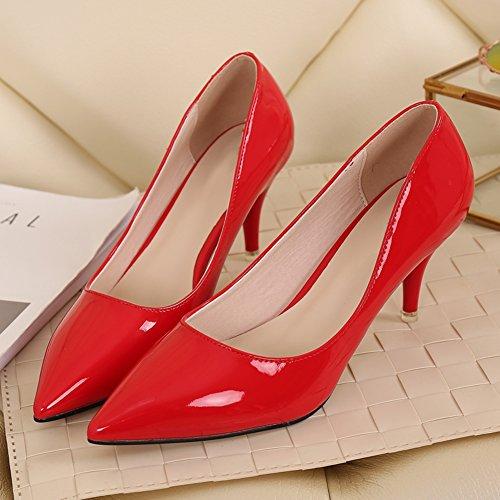 ... Fereshte Kvinners Klassiske Enkle Stiletto Midten Høye Lave Hæler  Pumper 7cm-rød