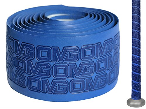 (Oh My Grips OMG Premium Cushioned Hand Grip Wrap, Great for All Bats and Racquets; Baseball, Softball, Tennis, Badminton, Cricket, Even Ping-Pong Paddles! (Blue))