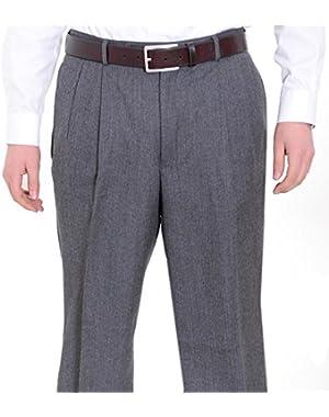 Regular Fit Gray Herringbone Pleated Wool Dress Pants