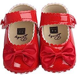 Binmer(TM) Baby Girl Bowknot Leater Shoes Sneaker Anti-slip Soft Sole Toddlerr (0-6M, Red)