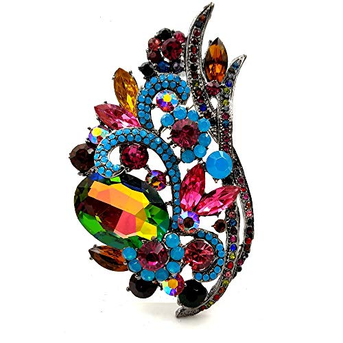 (DREAMLANDSALES Large Vintage Multi Colored Crystal Rhinestone Foxtail Brooch Pin with Aurora Accent)