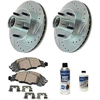 Front Ceramic Disc Brake Pad Performance Rotor /& Hardware Kit for Buick Cadillac