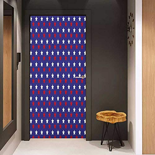 (Door Sticker USA United States of America Theme Federal Holiday Celebration Revolution Design Glass Film for Home Office W36 x H79 Dark Blue Red White)