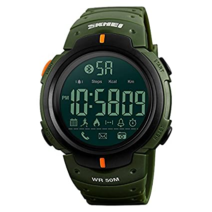 ... Mens Sport Smart Watch Pedometer Remote Camera Calorie Bluetooth Smartwatch Reminder Digital Wristwatches For iPhone Android (Army Green): Watches